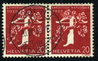Schweiz Suisse 1939 20c Exhibition Pair German/french Z27d 90chf photo