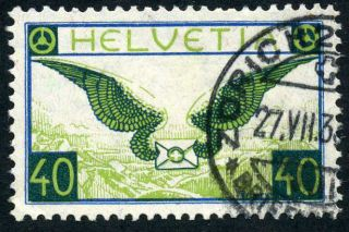 1929 Airmail 40c Fine,  Zum F15,  Michel 234x.  Cat 100 Euro (schweiz Luftpost photo