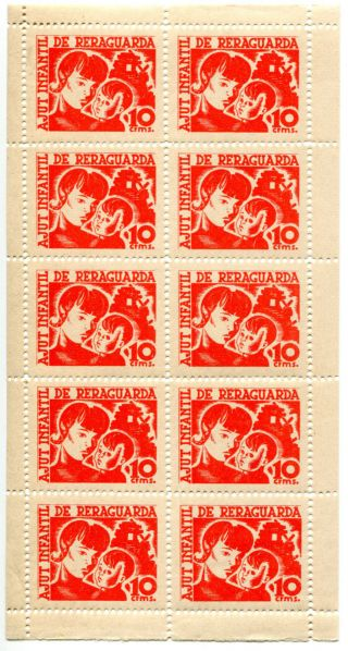 Spain,  Civil War,  Republican Labels,  Ajut Infantil De Reraguarda 10c Red,  Comple photo