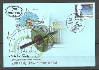 751 Bosnia Serbia 2013 - - 100 Years Of Tesla Tirbine Fdc photo