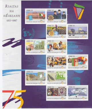 Ireland 1997 75th Anniv Of Irish State S/s (sc 1096) photo