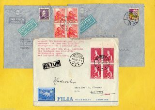 Denmark 1940s Ice Mail Cover To Byrum,  Returned To Haderslev+2xair Mails To Egypt photo