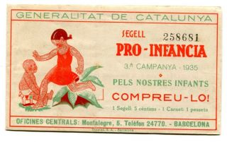 Spain,  Civil War,  Segell Catala Pro Infancia 1935,  5c,  Booklet,  Domenech 1470,  M photo