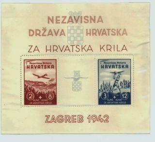 1942 Croatia Sc B11 Aeronautic Souvenir Sheet Non Hinged Perforated photo