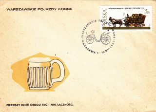 (22565) Poland Fdc Horse And Cart 1980 photo