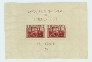 1937 Luxembourg Souvenir Sheet Special Issue National Philatelic Expo Scott B85 photo