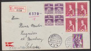 Denmark 1941 Reg ' D Wwii Cover With German Censor Strip & H/s ' S To Switzerland photo