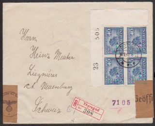 Denmark 1942 Reg ' D Wwii Cover With German Censor Strip & H/s To Switzerland photo
