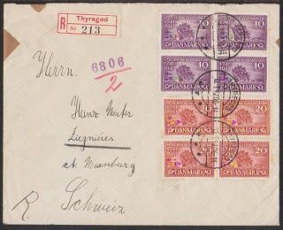 Denmark 1942 Reg ' D Wwii Cover With German Censor Strip & H/s ' S,  To Switzerland photo