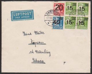Denmark 1941 Wwii Censored Cover With 1940 Surcharges (15o Type I) To Swiss photo