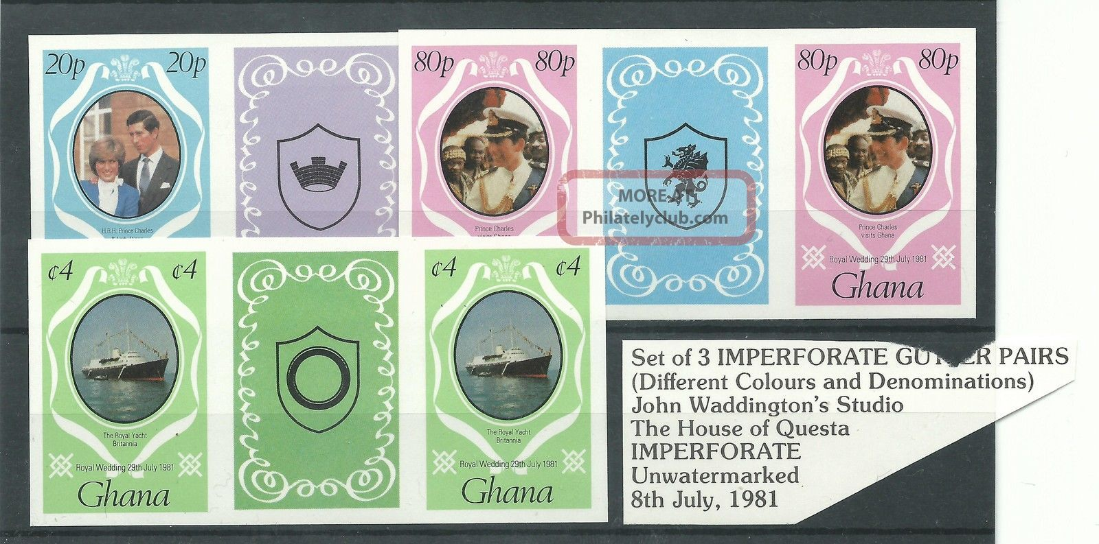 Ghana - 1981 - Imperforate Gutter Tab Pairs - Charles & Diana Wedding - Umm Africa photo