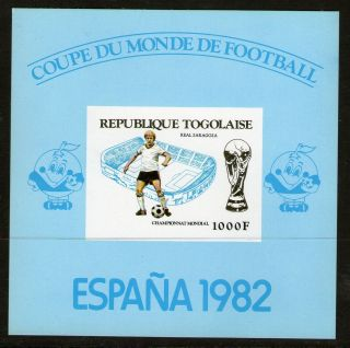 Togo 1982 Spain Football World Cup Imperforate Proof Card Miniature Sheet photo