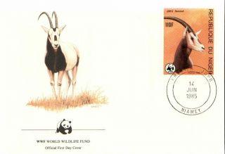 (72429r) Fdc Wwf - Niger - Antelope - 1985 photo