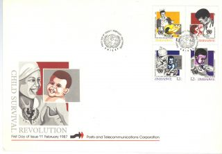 Africa Zimbabwe 1987 Child Servival Campaign First Day Cover Ref:aa72 photo