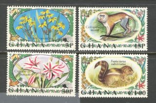 Flowers Animals On Ghana 1972 Sc 450 - 453 photo