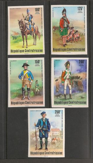 Central Africa C139 - 143 Vf Imperf - 1976 100fr To 250fr - Uniforms photo