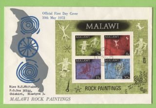 Malawi 1972 Rock Paintings Miniature Sheet On First Day Cover photo