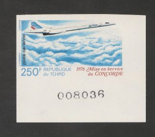 Chad C195 Vf Imperforate - 1976 250fr Concorde photo