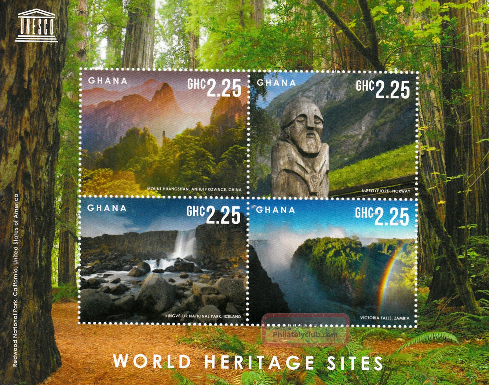 Ghana 2013 Unesco World Heritage Site I 4v M/s Victoria Falls Redwood Park Africa photo