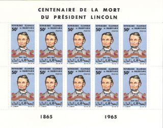 Mauritania 1965 Abraham Lincoln Mini - Sheet (sc 190) photo