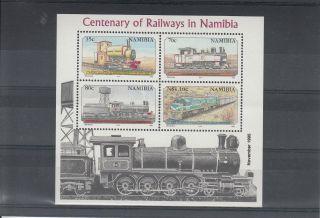 Namibia 1995 Cent Railways Sg Ms661 4v Cape Cross Locomotive Trans - Namib photo