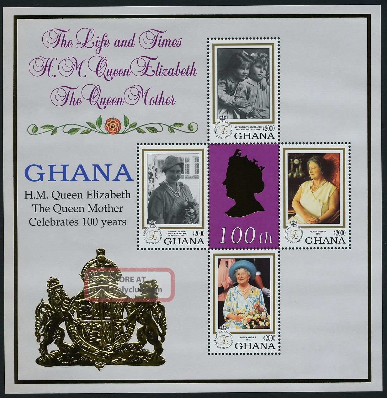 Ghana 2124 - 5 Queen Mother 100th Birthday Africa photo