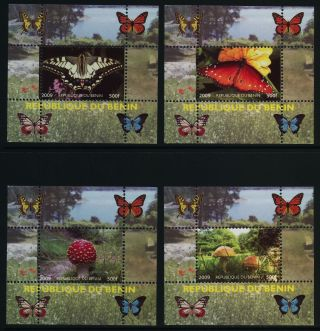 Benin S/s Butterflies,  Mushrooms,  Flowers photo