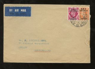 Bma Eritrea 1949 20c + 65c Air Cover To Switzerland photo