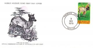 World Wildlife Fund First Day Cover - Ivory Coast - Jentink ' S Duiker - No 144 photo