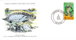 World Wildlife Fund First Day Cover - The Ivory Coast - The Manatee - No 142 photo