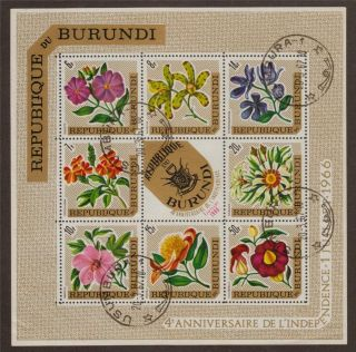 Mini Sheet - Burundi 1967 Ms220 4th Anniv Of Independence With Arms Cto photo