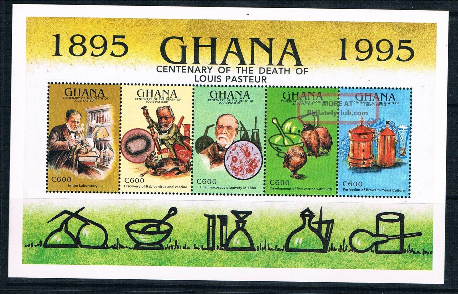 Ghana 1995 Louis Pasteur Sheet Sg 2267a Africa photo
