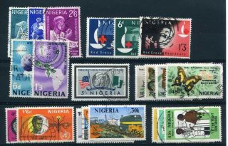 Nigeria 1963 Onwards Range On Stockcard Inc Red Cross And Butterflies photo