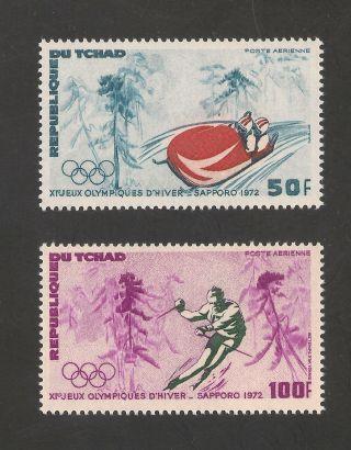 Chad C110 - 111 Vf - 1972 50fr To 100fr Bob Sledding / Slalom / Olympics photo