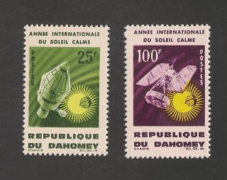 Dahomey 196 - 197 Vf - 1964 25fr To 100fr Apollo & Nimbus Satellite photo