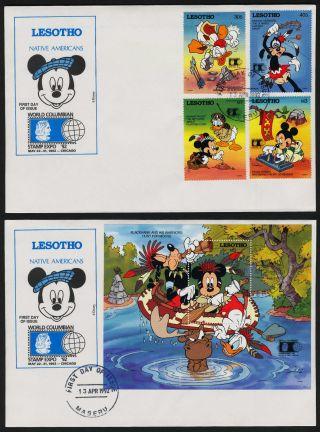 Lesotho 887 - 91 Fdc ' S Disney,  Native Americans,  World Columbian Stamp Expo photo