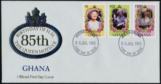 Ghana 958,  60,  3 Fdc Queen Mother,  Flower photo