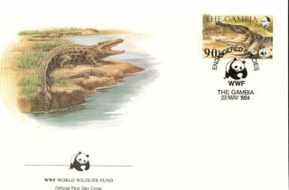 (72633) Fdc Wwf Gambia Crocodile 1984 photo