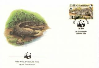 (72634) Fdc Wwf Gambia Crocodile 1984 photo