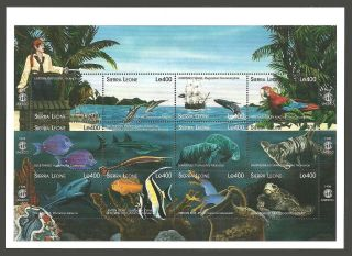 Sierra Leone 1998 Year Of The Ocean Ships Pirates Birds Macaw Sharks Whale photo