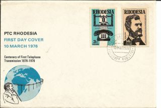 1976 Ptc Rhodesa Telephone Centenary Salisbury Post Mark photo