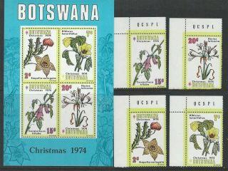 Botswana 1974 Sc 128 - 131a Christmas Flowers photo