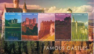 Gambia 2013 Famous Castles 5v M/s Alnwick Castle Dover Eilean Donan photo