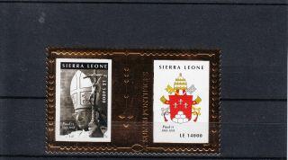 Sierra Leone 2010 Popes 20th Century Gold Stamp 2v Sheet Part I Paul Vi photo