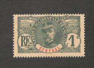 Senegal 57 Fvf Lh - 1906 1c General Louis Faidherbe - Scv $1.  60 photo