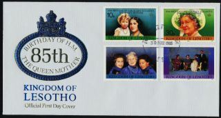 Lesotho 470 - 3 Fdc Queen Mother 85th Birthday photo