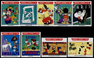 Sierra Leone 1470 - 81 Disney World Tour,  Mickey Mouse,  Pluto,  Goofy photo