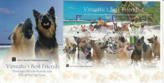 Vanuatu 2013 Fdc Vanuatu ' S Best Friends 2v S/s Cover Dogs Sam ' S Animal Welfare photo