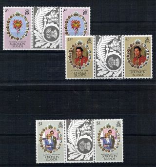 Solomon Islands 1981 Royal Wedding All 3 Commemoratives In Tab Gutter Pairs photo