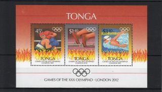 Tonga 2012 London Olympics 3v Sheet Games Xxx Olympiad Boxing Swimming photo